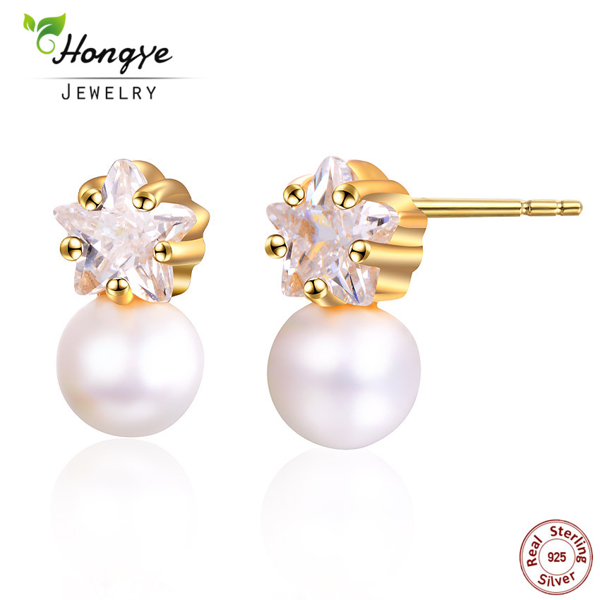 Hongye 100% 925 Sterling Silver Shiny Natural Pearl Small Cute Stud Earrings For Women Female Wedding Trendy Jewelry Friend Gift