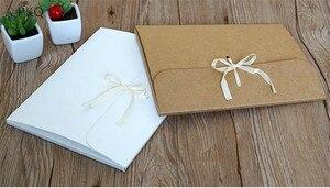 Image 4 - 30 pçs/lote grande kraft foto envelope embalagem caso de papel branco presente envelope para lenço de seda com fita caixa de envelope cartão postal