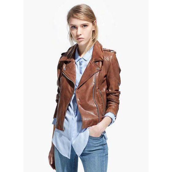 Womens Faux Leather Jacket Brown | Jackets Review