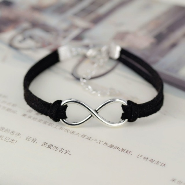 Silver Plated Infinity Charm Bracelet With Black Leather Rope