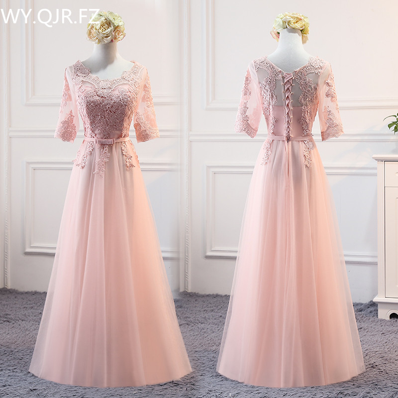 PTH-MSY03#Pink Lace Up O-Neck   Bridesmaid     Dresses   Long Middle Short Style Wedding Party   Dress   Prom Gown Wholesale women Clothing