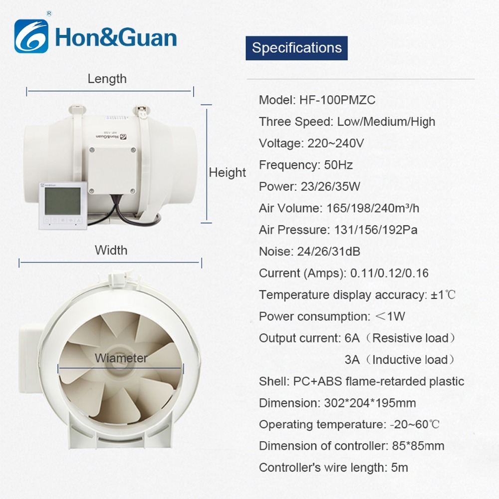 Honguan 4 Inch Hf 100pmzc Timer Extractor Inline Duct Fan With Booster Wiring Diagram Smart Switch 220240v Free Shipping By Dhl Or Ups In Exhaust Fans From Home Appliances On