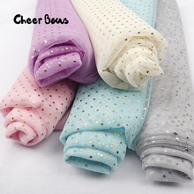 Gold Dots Sequin Fabric Patchwork Organza Laser Material DIY Crafts Fabrics For Sewing High Quality Dolls Cloth Mesh