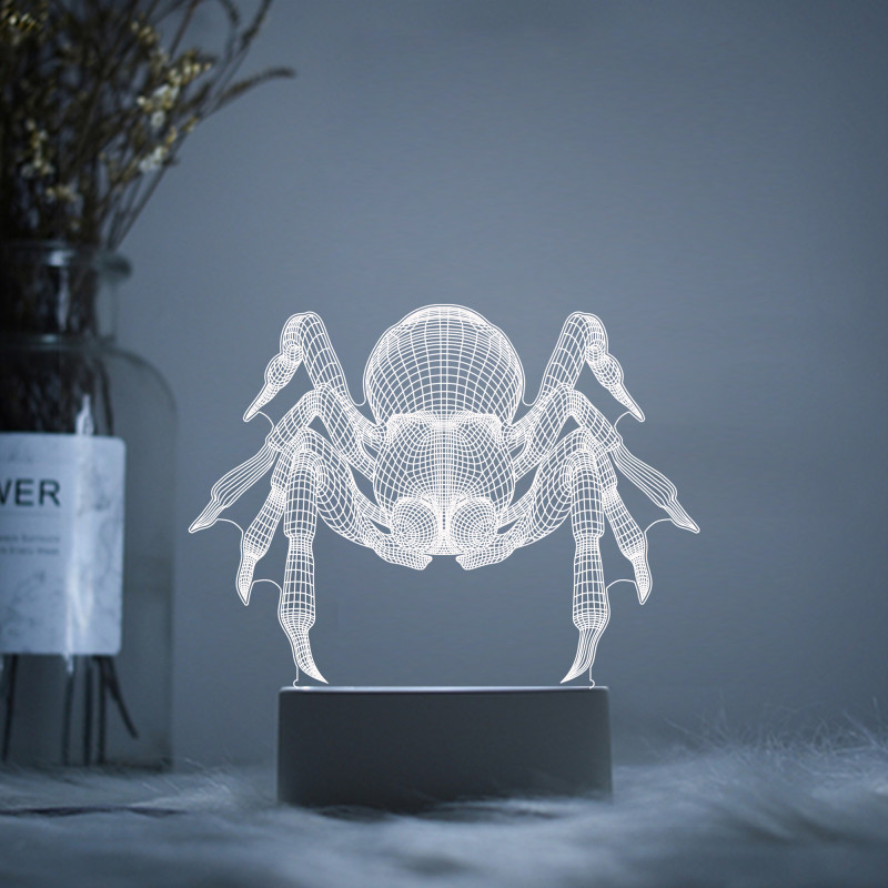 Araneid Black Widow Spider Tarantula LED 3D Acrylic Night Lamp Light Luminary With Touch And Remote Lamps Lights Kids Decoration