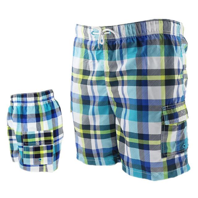 Funfeliz Father Son Swimming Trunk Family Mathcing Clothing Plaid Men Swimwear Boys Board Shorts Parent-child swimsuit Beachwear