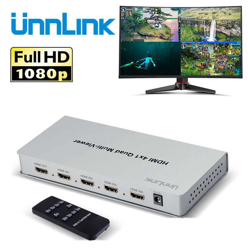 Unnlink 4X1 HDMI Multi-viewer FHD 1080P@60Hz 4 In 1 Out HDMI Quad Screen Multiviewer Seamless Switcher for Computer Projector цена