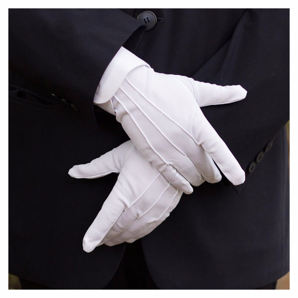 1Pair Winter Sunscreen UV Gloves Car Driving Gloves Super-elastic Cotton White Tuxedo Gloves Formal Uniform Protective Gloves
