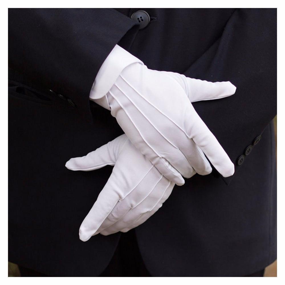 1Pair Winter Sunscreen UV Gloves Car Driving Gloves Super-elastic Cotton White Tuxedo Gloves Formal Uniform Protective Gloves