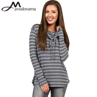 Avodovama M 2017 Winter New Women Fashion Blouse Long Sleeve Stripes Casual Sweatshirt Coat