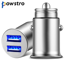 Powstro мини USB Автомобильное зарядное устройство адаптер 4.8A металлическое автомобильное зарядное устройство мобильный телефон автомобильное USB зарядное устройство Авто Зарядка дыхательный свет 2 порта 24 Вт