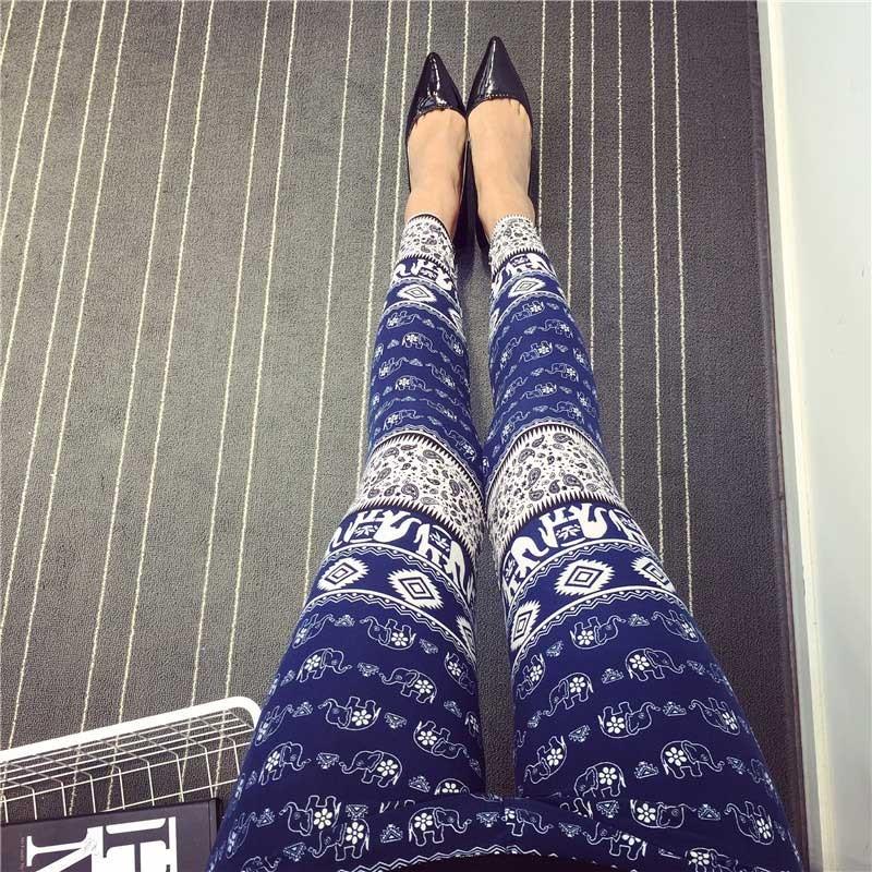 BIVIGAOS Spring Summer Womens Fashion Black Milk Thin Stretch leggings Colored Stars Graffiti Slim Skinny Leggings Pants Female 57