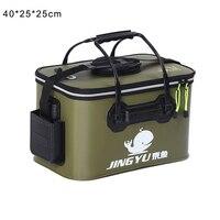 Portátil dobrável balde de pesca ao ar livre barril viagem acampamento pesca ferramenta armazenamento edf88
