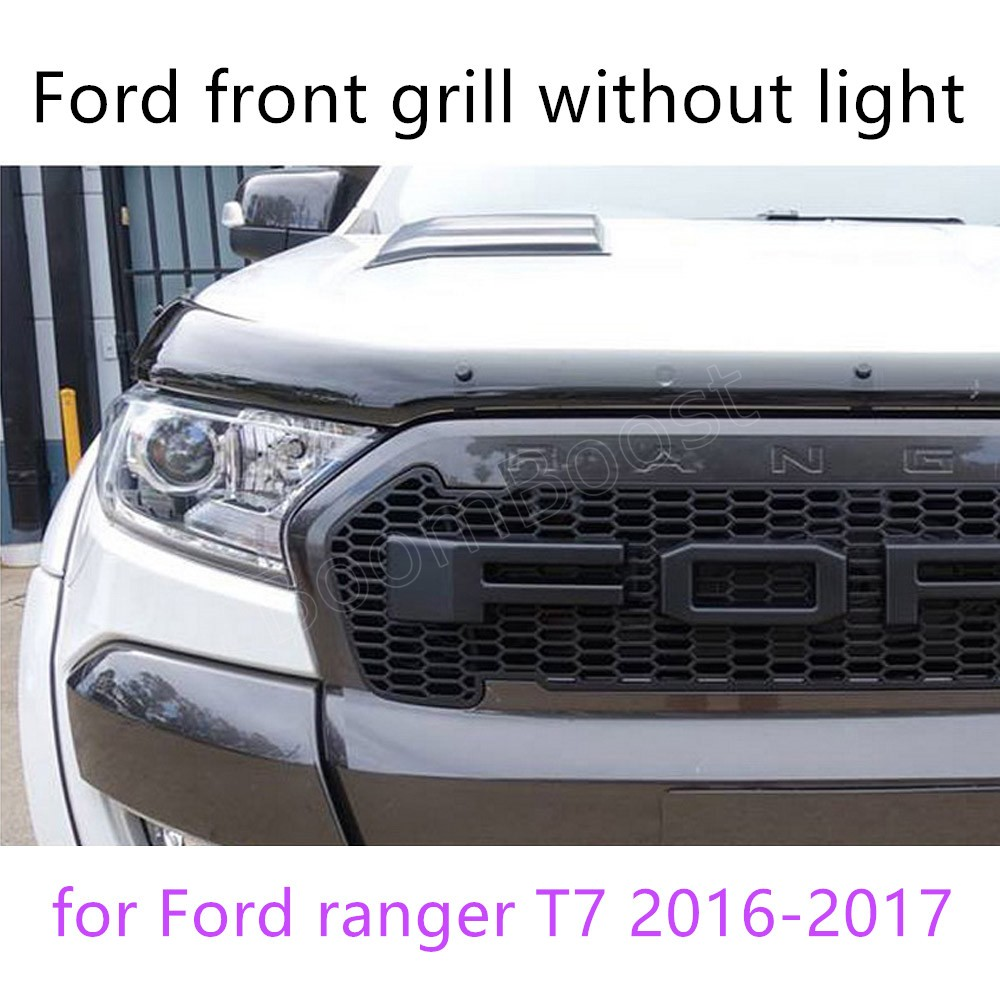 for Ford ranger T7 2016-2017 ABS grille LED front grille surrounds trim with or without light 4 colors available high quality circle