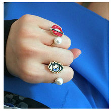 Bohemian Exquisite Stars Heart Eyes Letters Love Crystal Gem Joint Ring Female Fashion Gold Ring Set Combination(China)