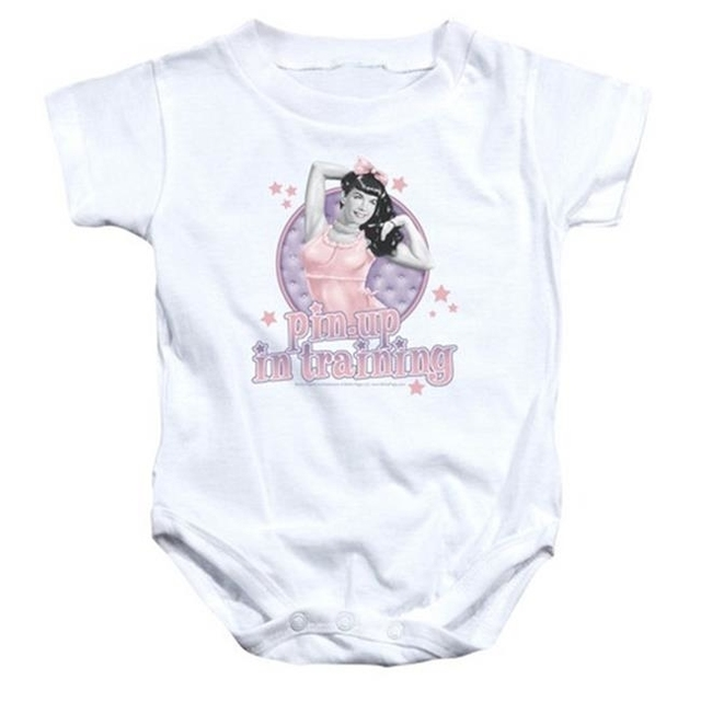 Trevco Bettie Page-Pin Up In Training Infant Snapsuit White – Small 6 Months