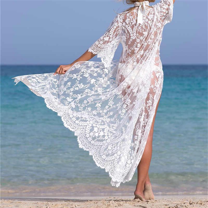 47e1fe08980a3 ... Tunics for beach Long Lace Beach Dress Women Swim Cover up Plus size Saida  de Praia ...