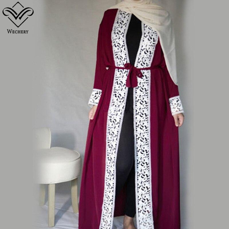 Wechery Elegant Open Abaya Womens Lace Smooth Dress Plus Size Loose Dress Adult Muslim Kaftan Jilbab Garments