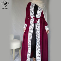 Wechery Elegant Open Abaya Womens Lace Smooth Dress Plus Size Loose Dress Adult Muslim Kaftan Jilbab Garments