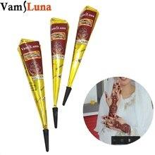 hot deal buy 4pcs natural henna cone reddish brown color chemical free temporary tattoo body art kit mehandi dark ink for women & men