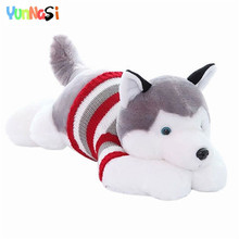 YunNasi Stuffed Husky Dolls With Sweater 70cm Plush Toys For Children Animal Simulation Dog Toys Kids Valentine Gifts For Girls