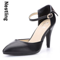 New 2015 Sheepskin Pointed Toe Ankle Strap Summer Style Women Pumps Genuine Leather Women High Heels
