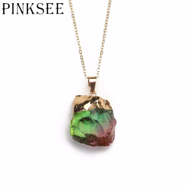 Pinksee fashion gold chain natural crystal chakra rock necklace for pinksee fashion gold chain natural crystal chakra rock necklace for women irregular shape quartz pendant colorful aloadofball Images