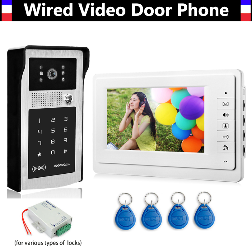 7 pouces LCD filaire vidéo porte téléphone sonnette interphone Kits boîtier en alliage d'aluminium IR caméra mot de passe ID porte-clés déverrouillage