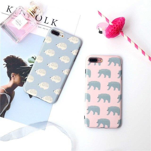 Leuke Ijsbeer geschilderd case Voor iphone X 7 7 plus 8 8 plus Egel soft silicon case voor iphone 6 6 s 6 plus beschermende case
