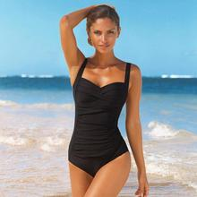 Plus Size One Piece Swimsuit Women Swimwear Solid Monokini Maillot De Bain Femme Bodysuit Female Bathing Suit Black Blue