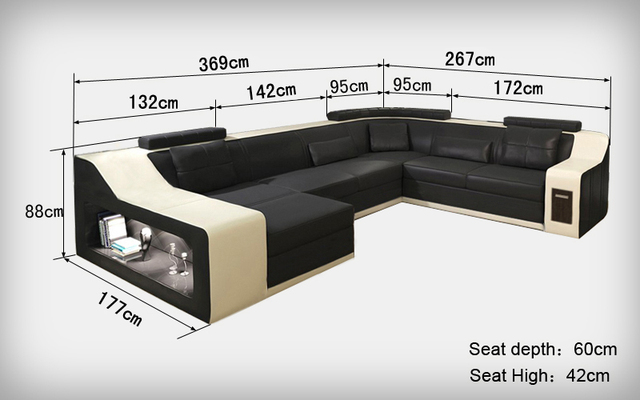 Genuine leather sectional sofa B2017 : real leather sectional sofas - Sectionals, Sofas & Couches
