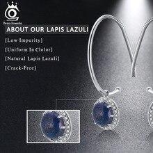 Real 925 Sterling Silver Drop Earrings Prong Setting Lapis Lazuli AAA Zircon Women Earring