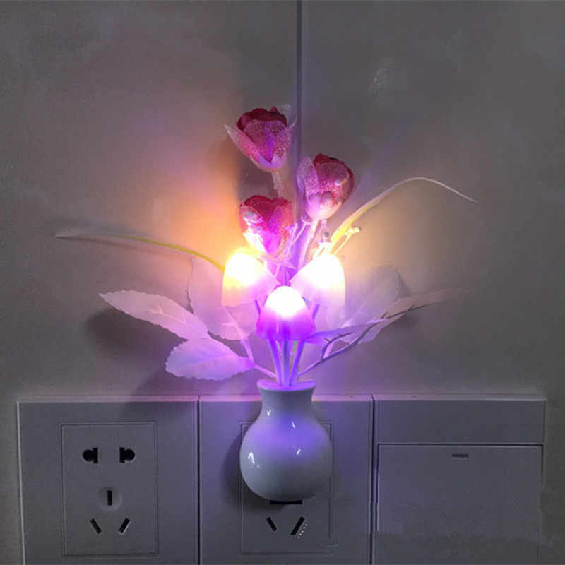1PC יפה צבעוני LED פרח לילה אור מנורת פטריות רומנטי לילך לילה תאורה עבור בית אמנות דקור תאורה