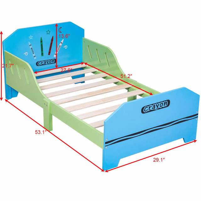 Online Shop Giantex Crayon Themed Wood Kids Bed With Bed Rails For