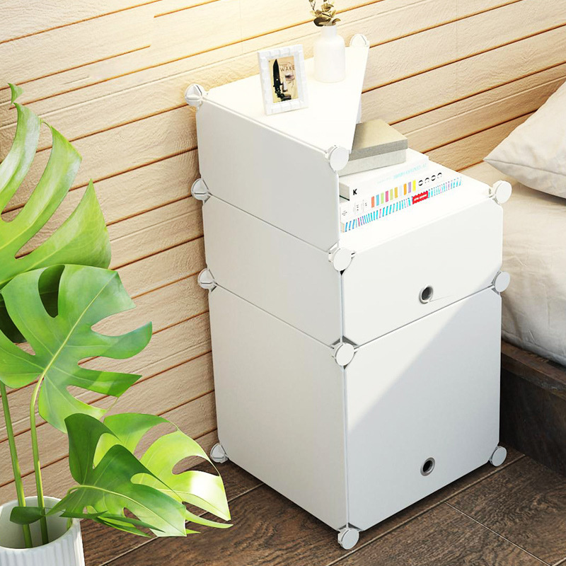 Simple Modern Assembly Household Children's House Plastic European Style Bedroom Furniture Storage Cabinet Beside Table