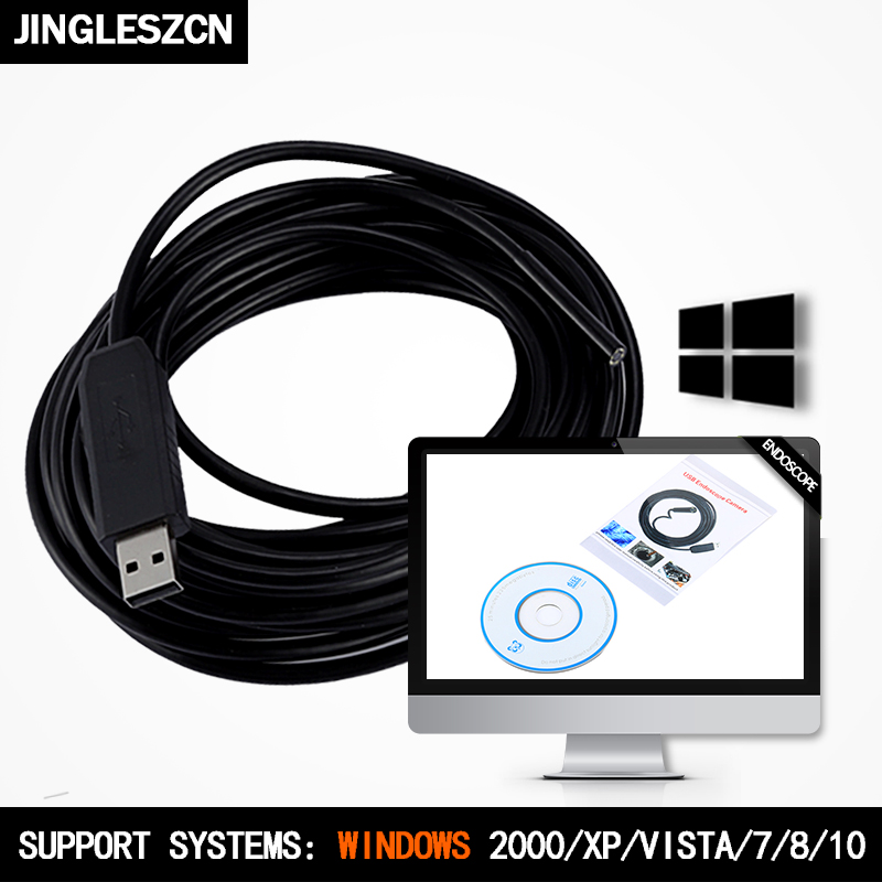 JINGLESZCN USB Endoscope Camera 10MM Lens Dia 20M Cable CMOS Waterproof IP67 Borescope Inspection Endoscopio Snake Video Cam
