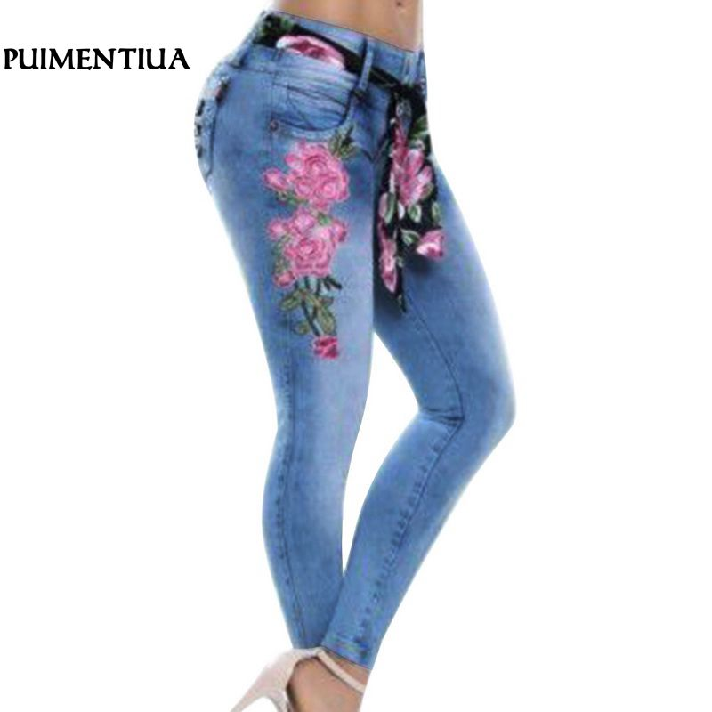 Puimentiua 2018 Women Stretch High Waist Skinny Embroidery   Jeans   Floral Print Denim Pencil Pants Female Trousers Plus Size 5XL
