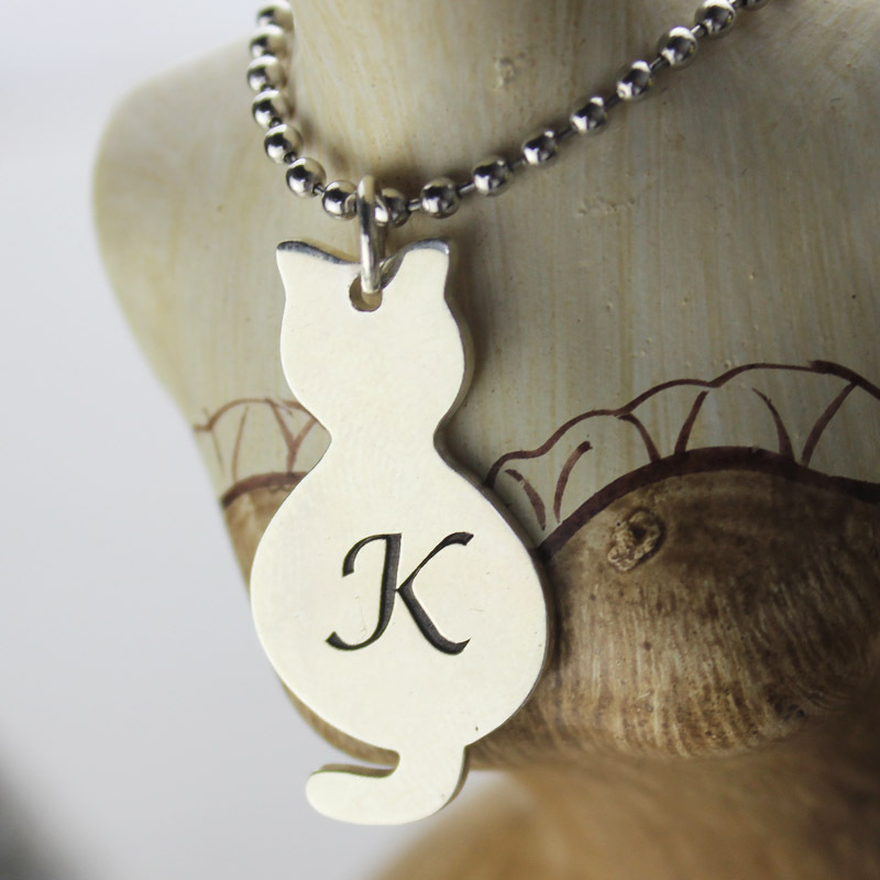 Engraved kids name necklace cute tiny kitten cat necklace sterling engraved kids name necklace cute tiny kitten cat necklace sterling silver initial pendant animal necklaces in chain necklaces from jewelry accessories on aloadofball Choice Image