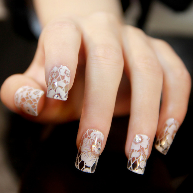 16sheets Different Design French Style White Lace Flower Nail Art