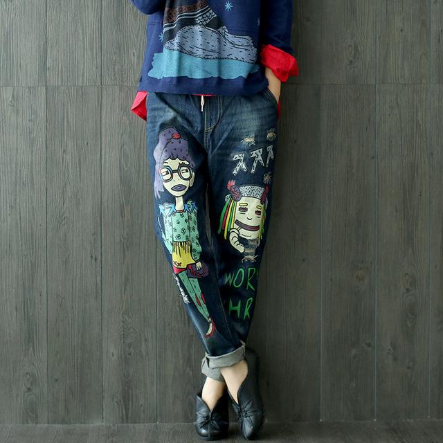 Las mujeres de Dibujos Animados de Corea Del Agujero de La Personalidad Suelta Mezclilla Señoras Elástico wais Carácter Imprimir Jeans Recta Pantalones de Mezclilla Femenina