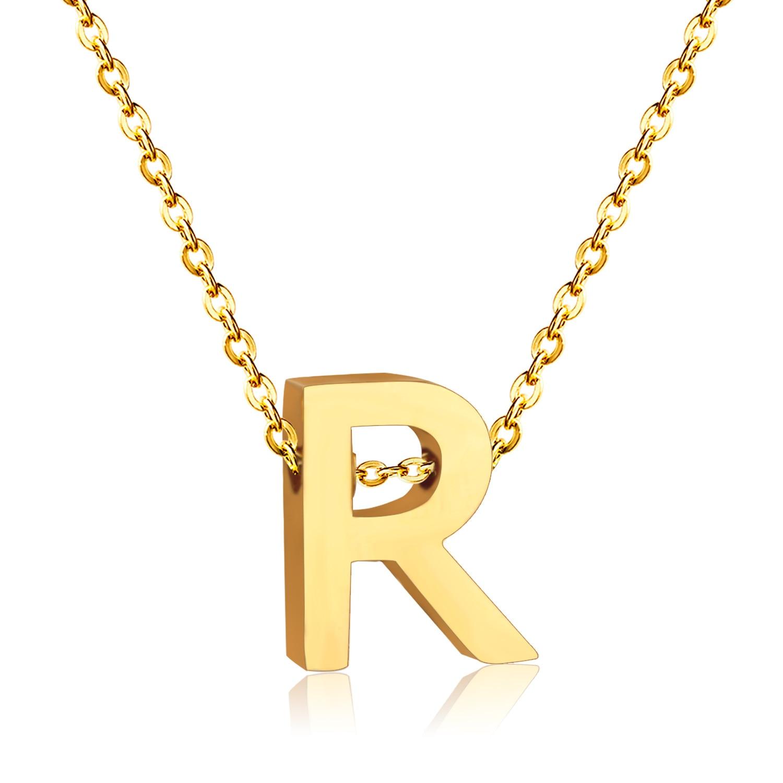 Nueva Letra R Collares de Acero Inoxidable de calidad Superior(China)