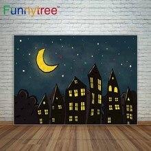 Cidade da noite estrelas lua dos desenhos animados casa crianças fundo uma foto estúdio de fotografia fundos cenário bonito