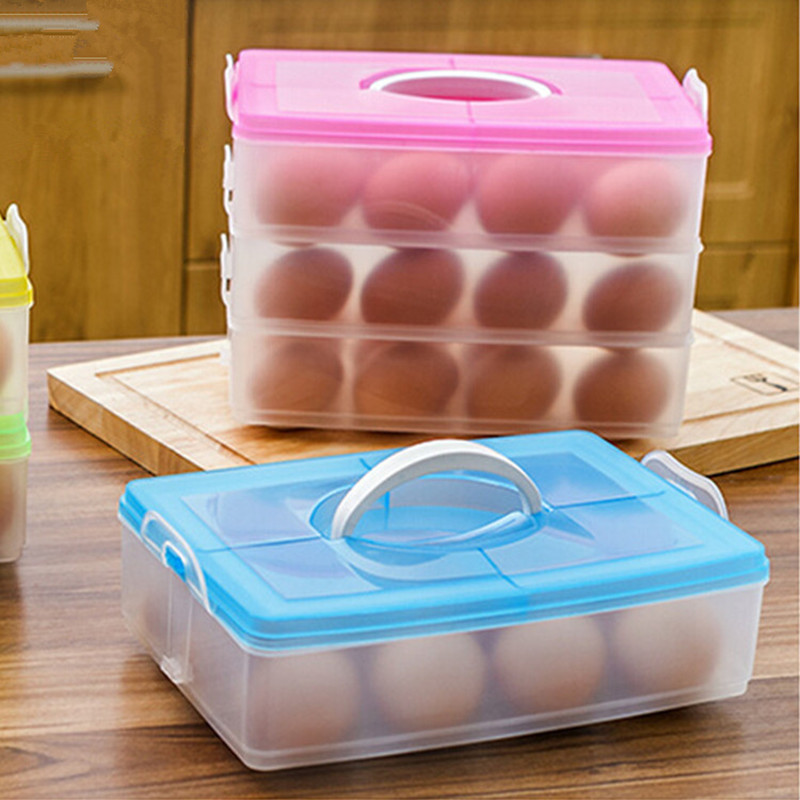24 Grid Egg Box Food Container Organizer Convenient Storage Boxes Double  Layer Durable Multifunctional Crisper Kitchen Products In Storage Boxes U0026  Bins From ...
