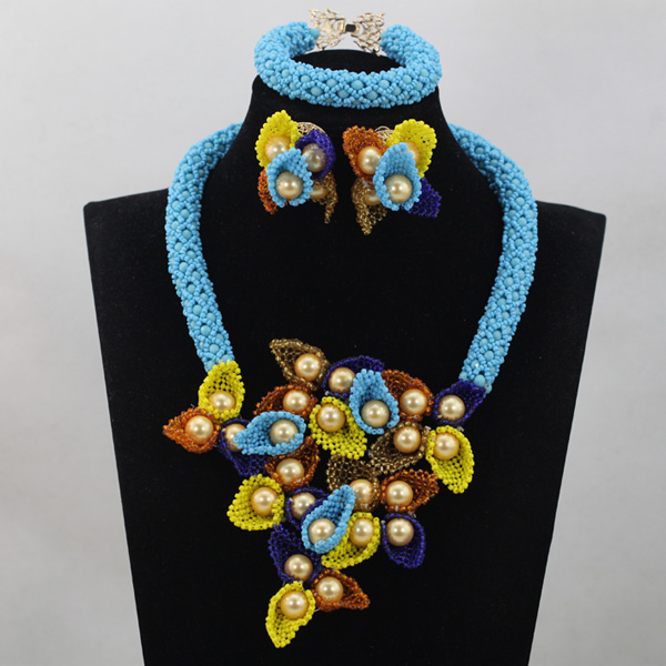 2017 Fashion Blue Flower Chunky Bib Necklace Jewelry Set New African Beaded Necklace Set for Women Free ShippingABL910