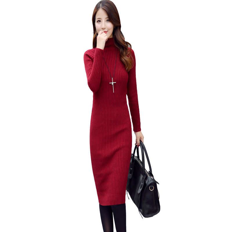 Winter Women Knitting Sweater Dress 2017 New Turtleneck Set Head Long Sleeve Silm Long Robe Vestidos Talla Grande Mujer Casual