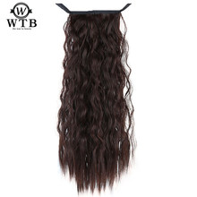 WTB Heat Resistant Synthetic HairCurly Long Ponytail Hairpiece Tail Clip In Kinky wave Hair Extension Long Ponytail Clip Hair(China)