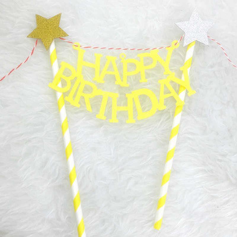 1 قطعة/الوحدة Bowknot عيد ميلاد سعيد كعكة توبر ل حزب الديكور كب كيك العلم للطفل دش كعكة الديكور أدوات لوازم