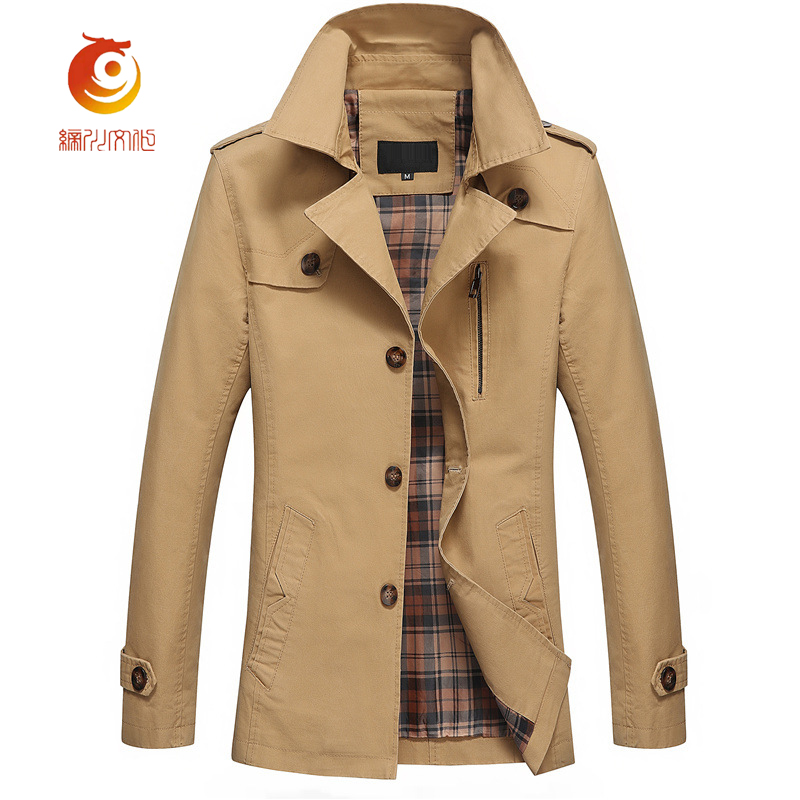 Trench Coat Men 2017 High Quality Korean Trench Coat Single Breasted Mens Long Coat Jackets Style Slim Classic Mens Overcoat
