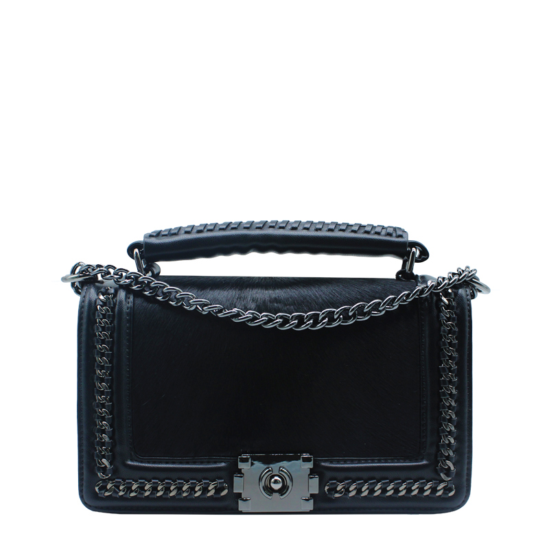 The new shoulder handbags chain package small square package oblique package tide 2 size horse hair and pu leather design