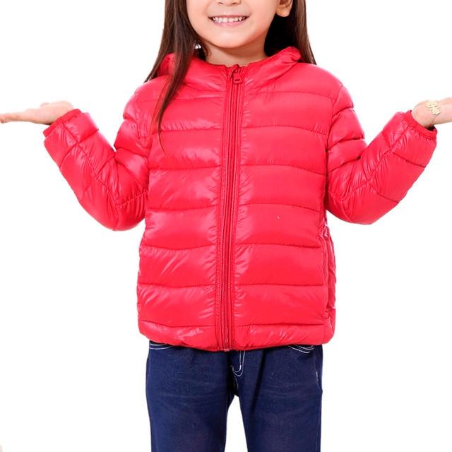 Winter Thin Children Down Jackets Ultra Light Unisex Kids Hooded Coat Child Boy Girl Thin Warm Outerwears
