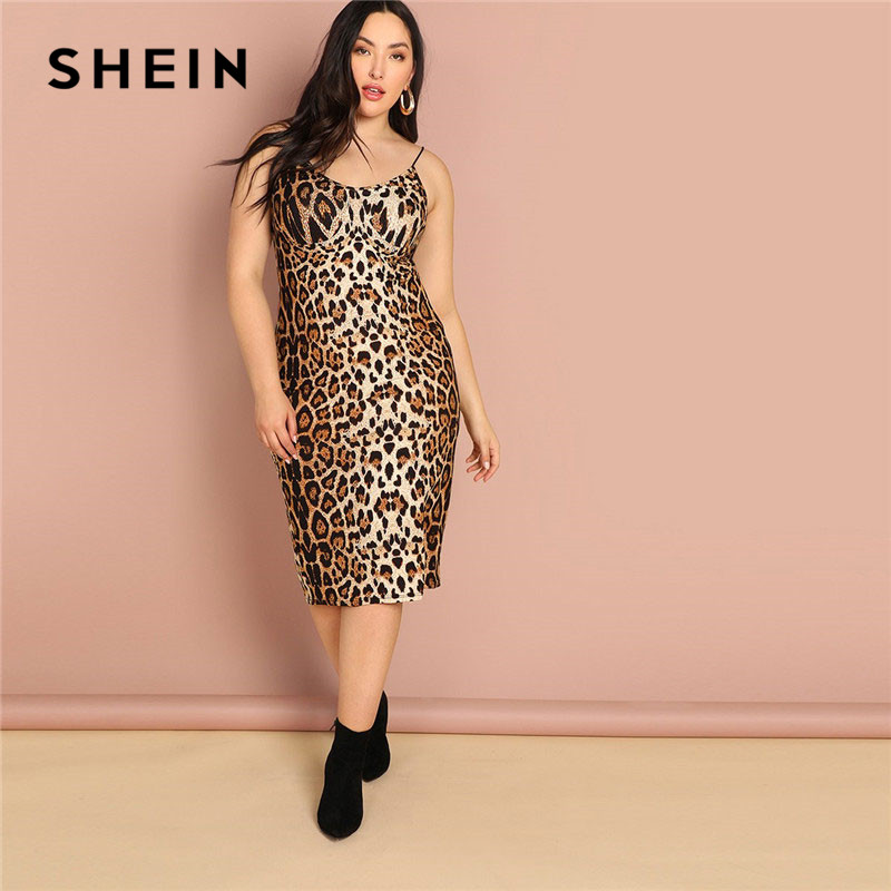 SHEIN Plus Size Leopard Print Sleeveless Bodycon Slip Dress Summer Spaghetti Strap Women Sexy Going Out Pencil Party Dresses 1
